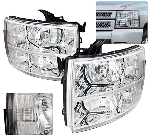 (AJP Distributors For Chevy Chevrolet Silverado 1500 2500 3500 HD Headlights Lights Lamps 2007 2008 2009 2010 2011 2012 2013 2014 07 08 09 10 11 12 13 14 (Chrome)