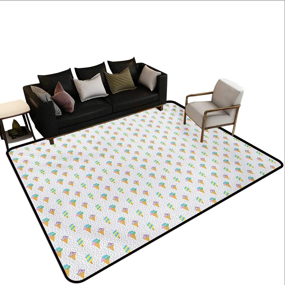Household Decorative Floor mat,Summer Ice Dessert Collection with Waffle Cones and Sundae Dairy Refreshment 6'6''x8',Can be Used for Floor Decoration