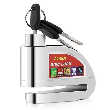 YOHOOLYO Candado de Disco con Alarma 6mm 110DB Dispositivos Antirrobo Acero para Motos Bicicletas Plata