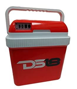 DS18 Coolbox24 Electric Cooler/Warmer for Car and Home 25.4 Quart (24 Liter) - Dual 110 AC House and 12V DC Vehicle Plugs, Travel Thermoelectric Cooler (Red)
