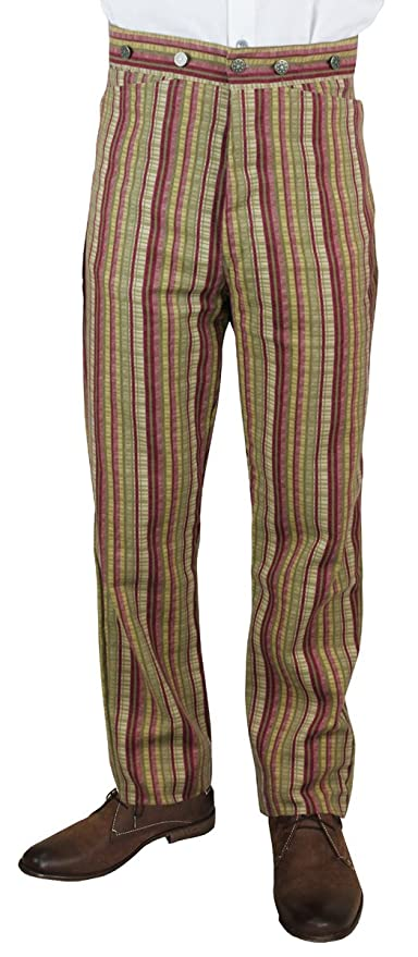 Steampunk Pants Mens  Mens High Waist Bailey Cotton Striped Dress Trousers $56.95 AT vintagedancer.com
