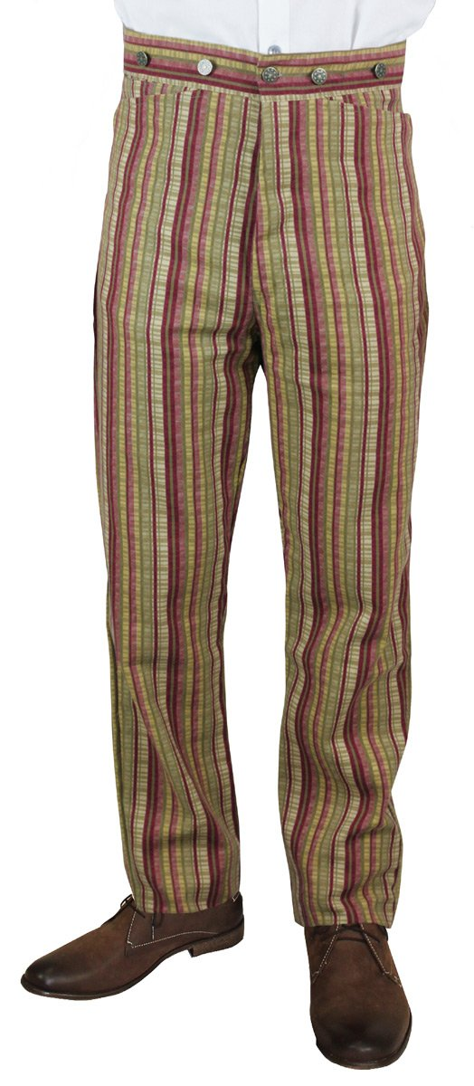Historical Emporium Men's High Waist Bailey Cotton Striped Dress Trousers 34 Crimson