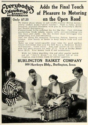 1923 Ad Burlington Hawkeye Refrigerated Picnic Basket Food Outdoors Camping Cool - Original Print Ad
