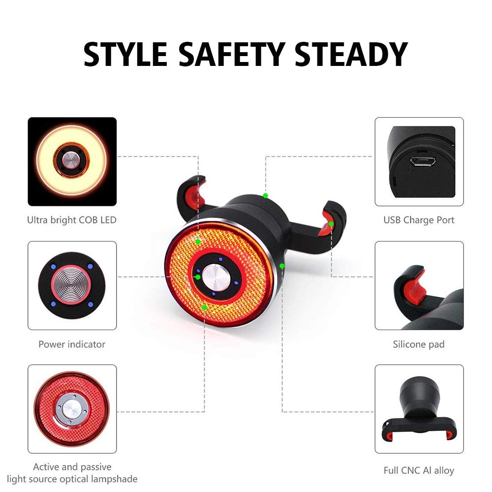 Ultra Bright Smart Brake Sensing Bicycle Lights USB Rechargeable Auto On//Off Bike Accessories for Road Bike Helmets IPX6 Waterproof LED Cycling Lights Cycling Safety LAOPAO Rear Bike Tail Light