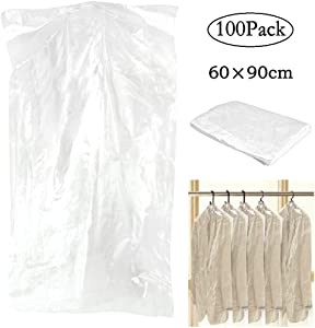 Fengheshun Pack of 100 Garment Bag, Transparent Suit Bag ,Clothing Dust Cover, Gown and Dress Dustproof Wateproof Storage Bag (60×90cm)