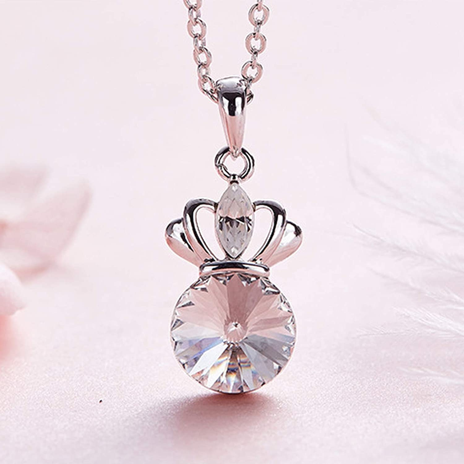 Beydodo Gold Plated Necklace for Women Crown Pendant with Crystal Pendant Necklace Valentines