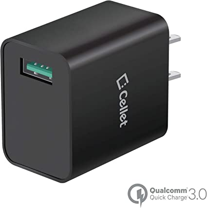 Black//UL Certified Professional 33W QC 3.0 Works for RED Hydrogen One Quick Adaptive Fast Charge 3.0 with Folding Blade Plus Both MicroUSB//Type-C Cables