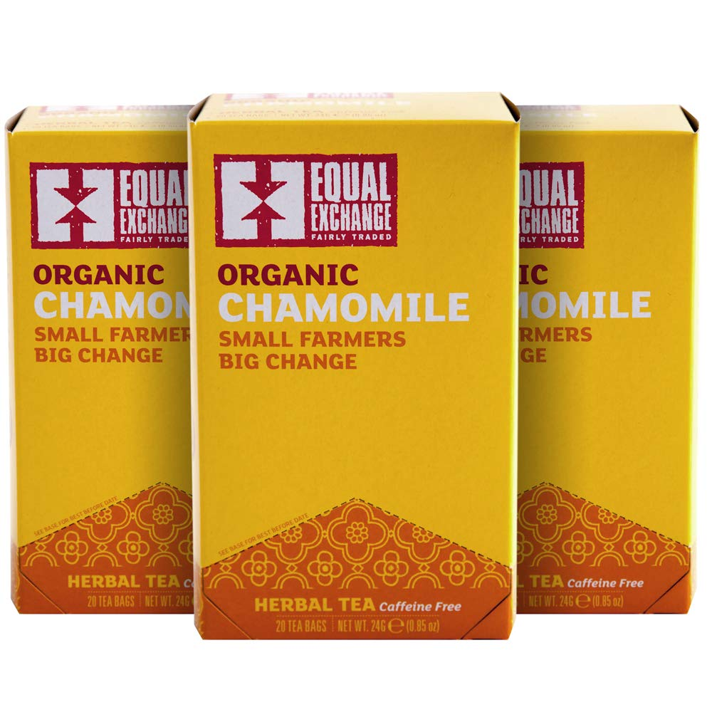 Equal Exchange Organic Caffeine Free Chamomile Tea,  20-Count (Pack of 3)