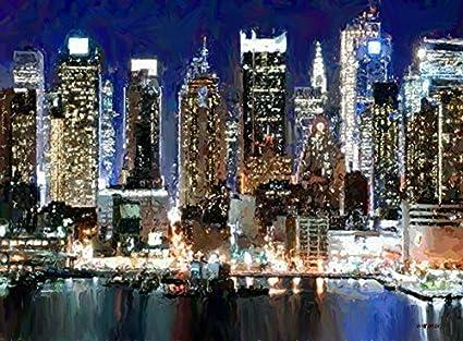 Amazon Com New York City Skyline Night Lights United States