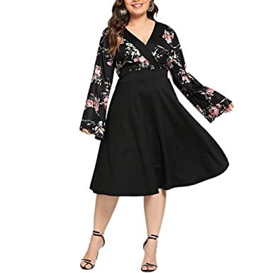 Balabala - Vestido para Mujer de Talla Grande, Estampado Floral ...