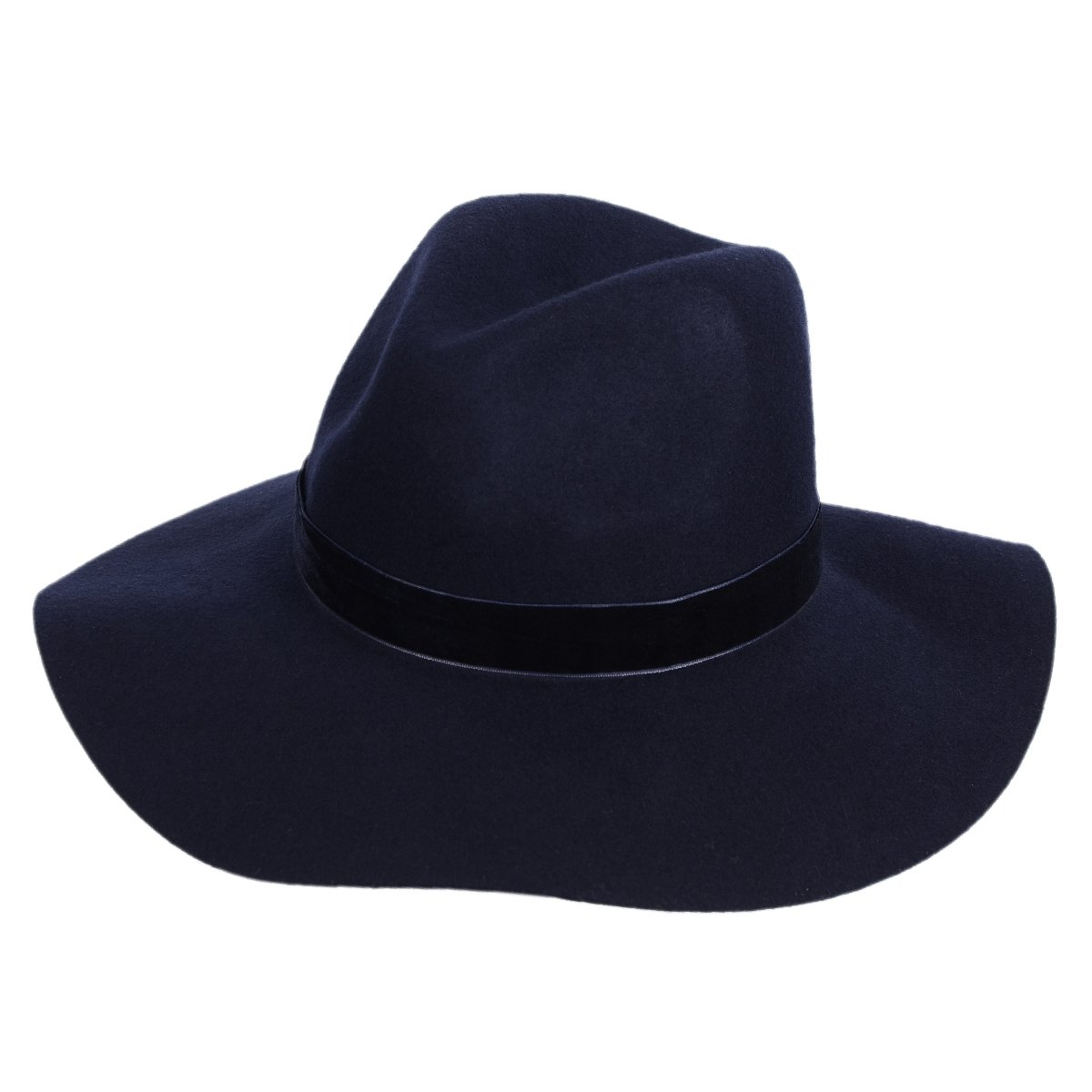 82ff4d3f Panama Felt Hat Women's Fedora Floppy Hat with Wide Brim and Chic Band(Navy  Blue)