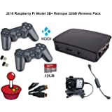 RetroPie 32GB Raspberry Pi 3 Model B+ Wireless PS3 Style Controllers | Game Console + KODI Includes Switch Cable and Official Power Supply 5.1V 2.5A & a HDMI Cable!