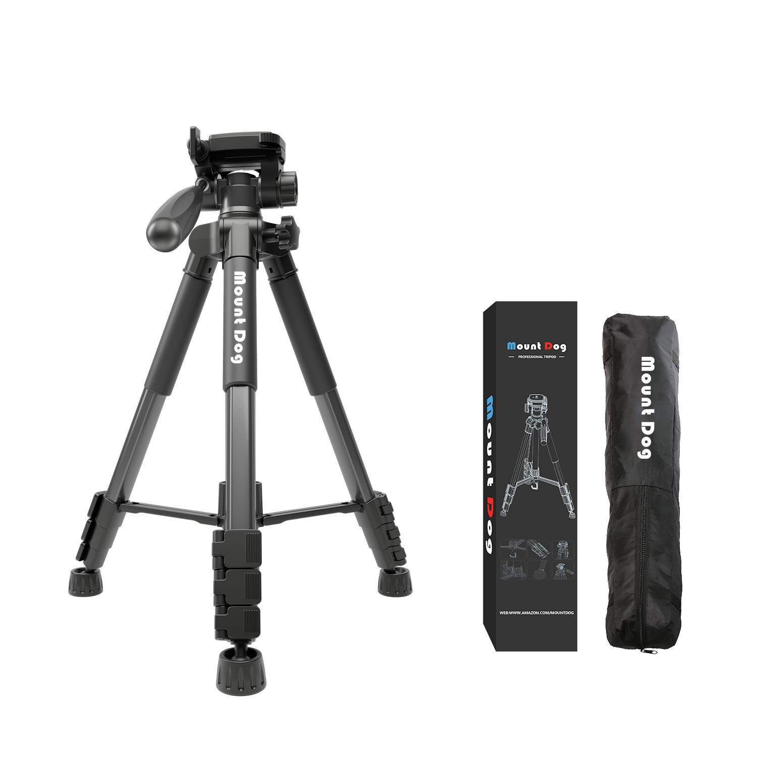 MountDog 60-inch Camera Tripod Aluminum Lightweight Tripod & Monopod Compact for Travel with 360° Panorama and Quick Release Plates for Canon Nikon DSLR Video Shooting - Black by MOUNTDOG