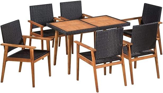 Fesjoy Juego de Comedor de 7 Piezas para Patio de Muebles de jardín al Aire Libre: Amazon.es: Electrónica