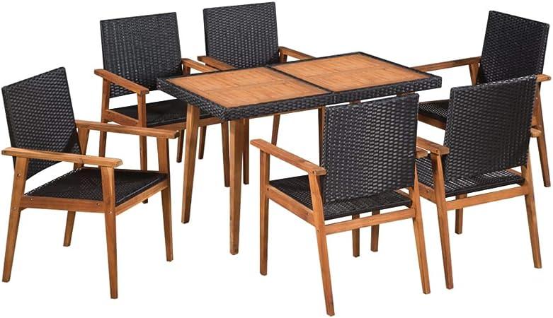 vidaXL Conjunto Muebles Jardín Ratán Sintético Acacia Set Mesa 6 Sillas Patio: Amazon.es: Hogar