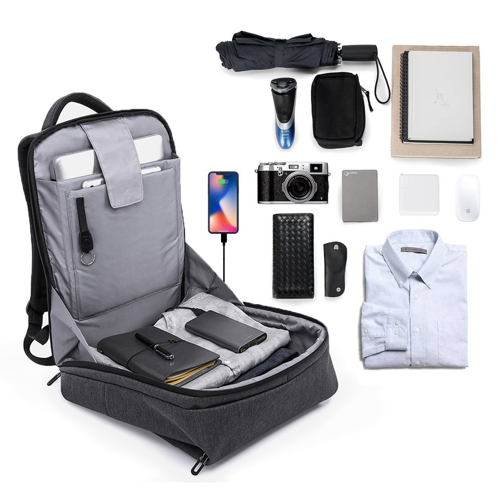 Laptop Backpack for Business Travel Backpack Fit 15 inch Outdoors Large Capacity 60 Degrees Extended with USB Charging Port Anti Theft Water Resistant Padded Straps without Shock for Men Women, Black by Nuheby (Image #2)