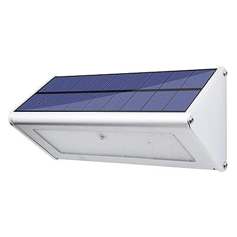 LexonElec Luz Solar 24 LED Sensor de Movimiento Radar de Seguridad Aleación de Aluminio Impermeable Solar