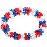 Lot de 12 Collier Hawaïen bleu blanc rouge 'HK-36' textile hawaien Hawaï hawaii couleur de l'équipe de France Hula fleur pétale ambiance tropique déguisement fête beach party été plage printemps