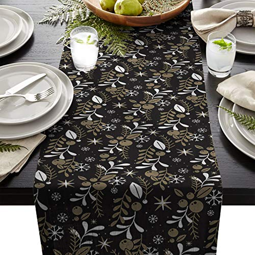 Edwiinsa Durable Table Runner, Xmas Season Christmas Theme Pine Pinecone Plant Pattern, Woven Fabric Table Flag for Kitchen Décor Dining & Coffee Table Décor 18 x 72 Inches