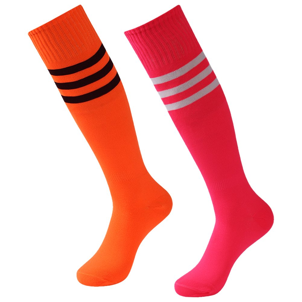 3street Athletic Soccer Socks, Adult Youth Wicking Moisture Long Compression Socks Running Cycling Extreme Cushion & Comfy Fit Basketball,Hiking,Baseball,Football Orange Hot Pink 2 Pairs by Three street