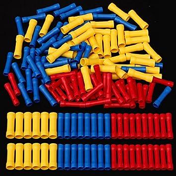 Tutoy 120Pcs Pvc-Isolierter Stumpf Drahtverbinder Crimp-Klemme 0.5-6 ...