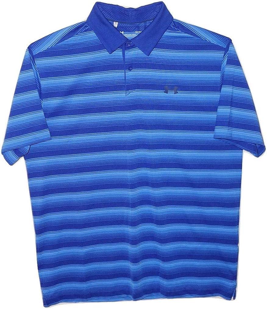 Under Armour Men's Polo Heat Gear Striped Golf Shirt (Large) Blue