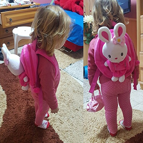 Gloveleya Bunny Rabbit Plush Kid's Backpack Shoulder Bags Easter Gifts 8'' for Kids Under 5 Years Old by Gloveleya (Image #3)