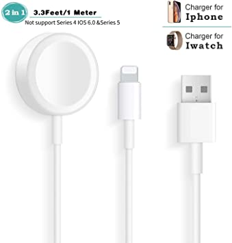 Apple Watch Cargador,2 en 1 Apple Watch Carga portatil iWatch Cable para Apple Watch Series 4/3/2/1, Apple Watch Charger inalámbrico magnético Carga ...