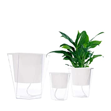 Vencer Self Watering Planter Pot(3 Pack) - for All House  Plants,Herbs,African Violets,Succulents,Flowers or Start  Seedlings,White,VF-038