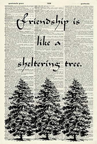 Friendship Quote Art Print - Fir Tree Art Print - Tree Illustration - Vintage Art Print - Botanical Picture - Vintage Dictionary Art Print - Book Page Print - Nature Artwork - Gift For Friends 1480D