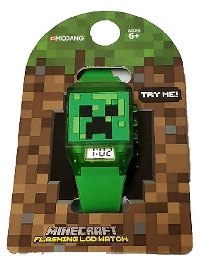 c77f1eabbd1 Minecraft - Reloj de Pulsera para niños con luz LED Intermitente, Color  Verde: Amazon.es: Relojes