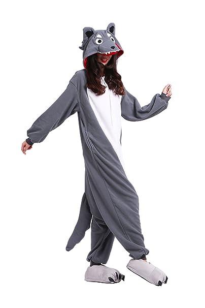 Hstyle Adulto De Dibujos Animados De Pijamas Ropa De Dormir Unisex Kigurumi Monos Mamelucos Trajes Lobo