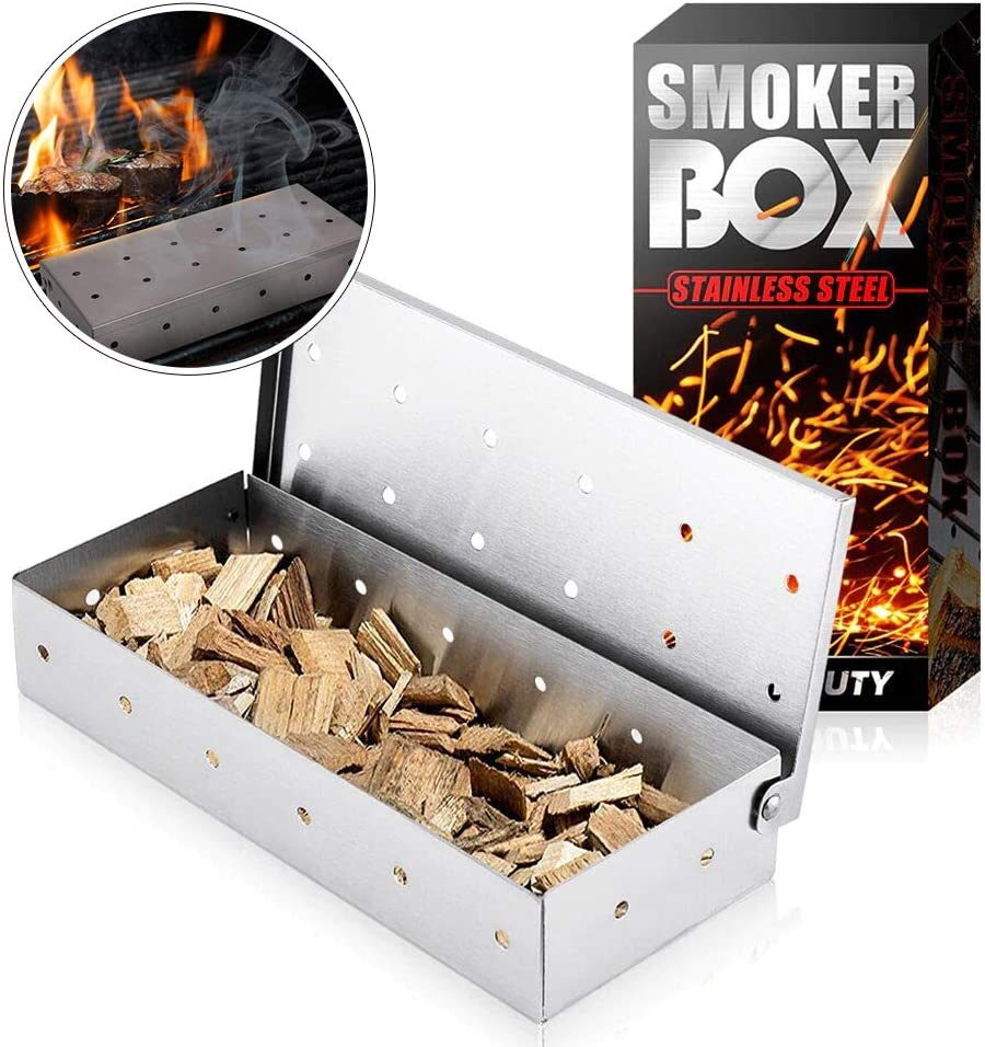 Without Chips Smoker Box Heavy Duty Stainless Steel Non-Stick Wood Chips Smoke Box- Sliver BBQ Smoker Box for Charcoal Grill Meat and Fish Smoking Chips Rust Proof Smokers Box Barbecue Accessories