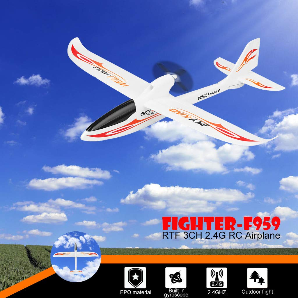 Hisoul F959 RC Airplane 2.4G 3CH Radio Control Remote Control Backward Pusher Glider RTF for Beginner Best Gift - Shipped from US (♥ White) by Hisoul (Image #2)