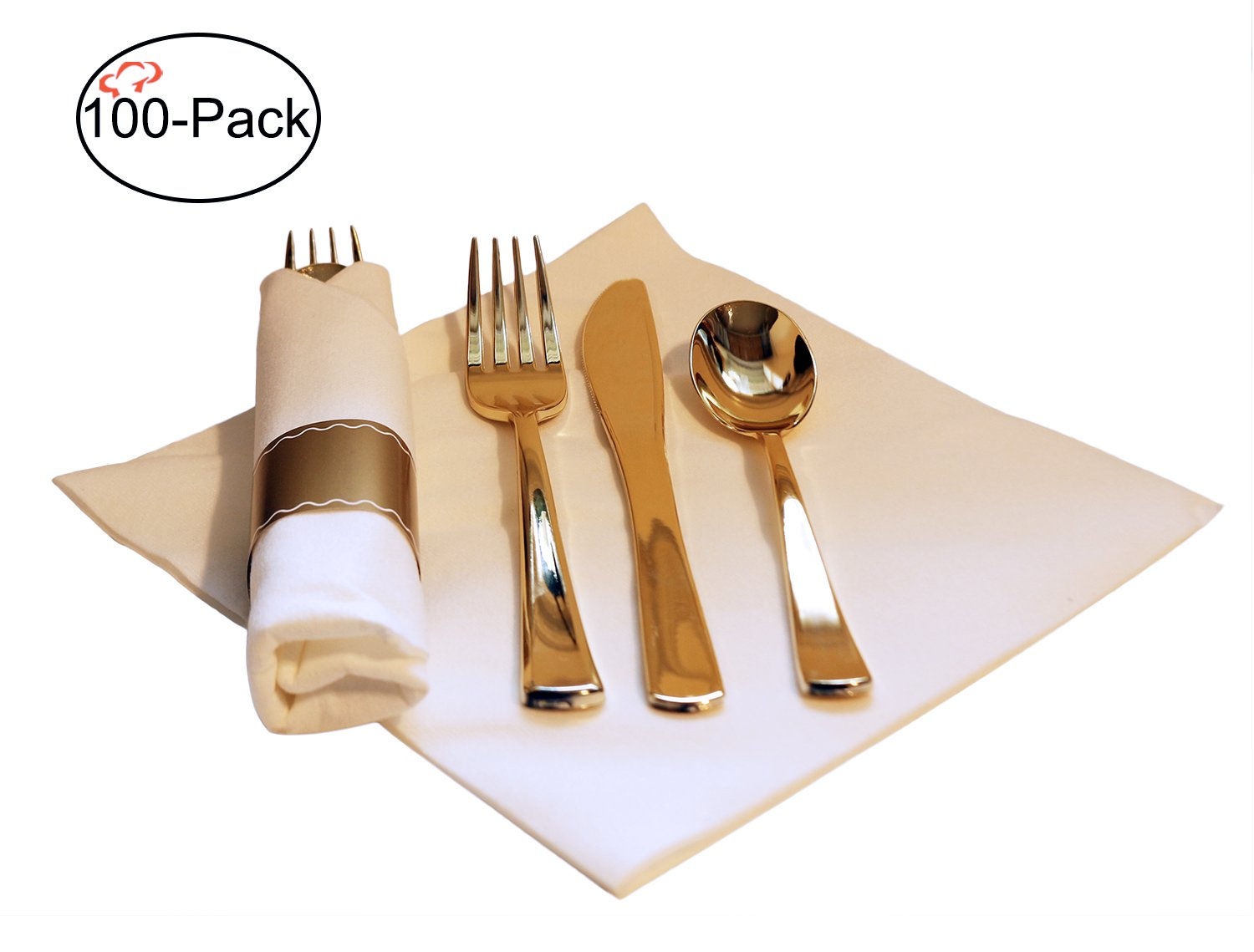 Tiger Chef 100-Pack 16-inch Pre Rolled Cutlery in Linen-Feel White Napkins and Gold Heavy Weight Plastic Silverware with Napkin Band Set, Includes Forks, Spoons and Knives in Rolled Napkins BPA-free