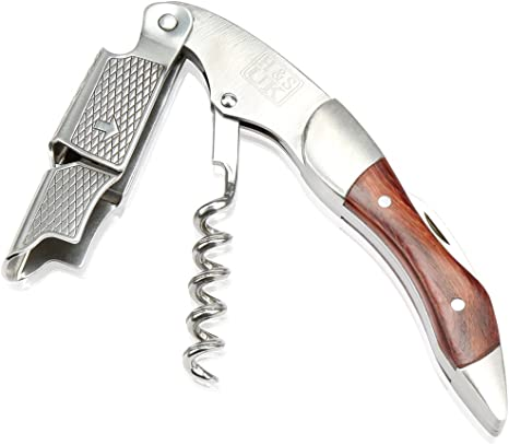 H S Wine Bottle Opener Waiters Corkscrew Professional Stainless Steel With Wood Handle Foil Cutter Amazon Co Uk Kitchen Home