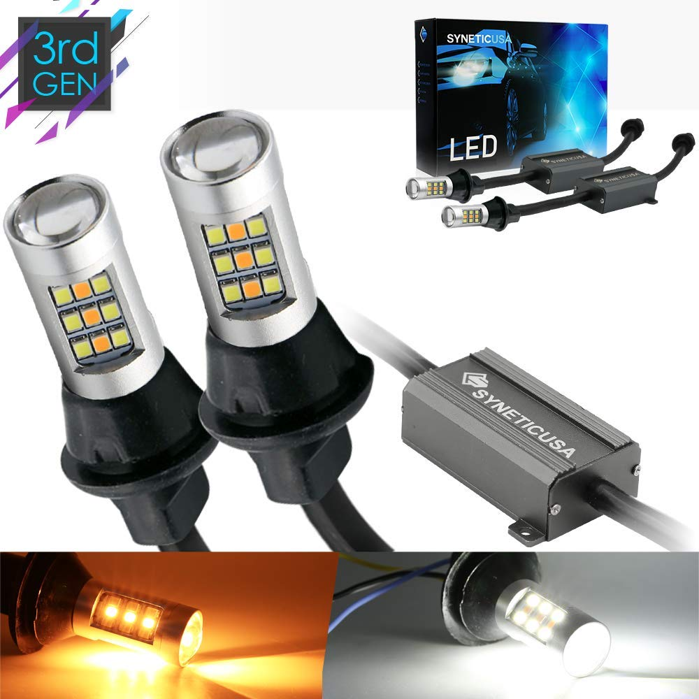 1157 Error Free Canbus Ready Dual Color Switchback LED Turn Signal Light Bulbs DRL Parking Lamp No Hyper Flash All in One
