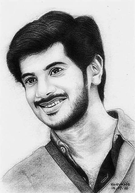 Buy Shivan S Creative Studio Paper Dulquer Salman Indian Film Actor Pencil Drawing Portrait Black Online At Low Prices In India Amazon In