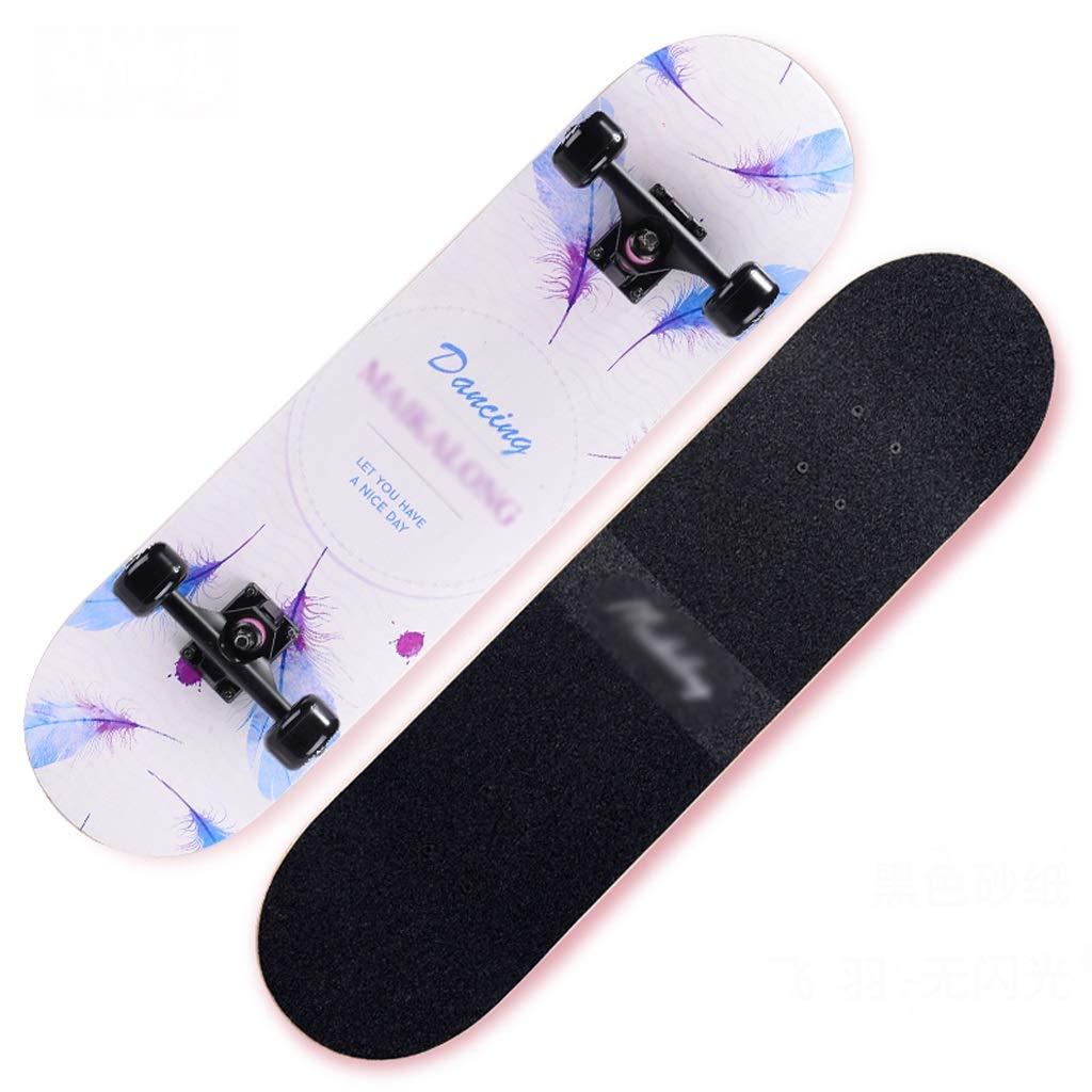 DUWEN スケートボード初心者メープルボードティーンブラシストリートダンスボードボーイダブルロッカータイププロフェッショナル四輪スクーター (色 : D) D
