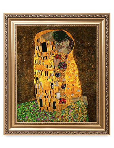 DecorArts - The Kiss by Gustav Klimt. The World Classic Art Reproductions. Giclee Print with Matching Museum Frame. 20x24