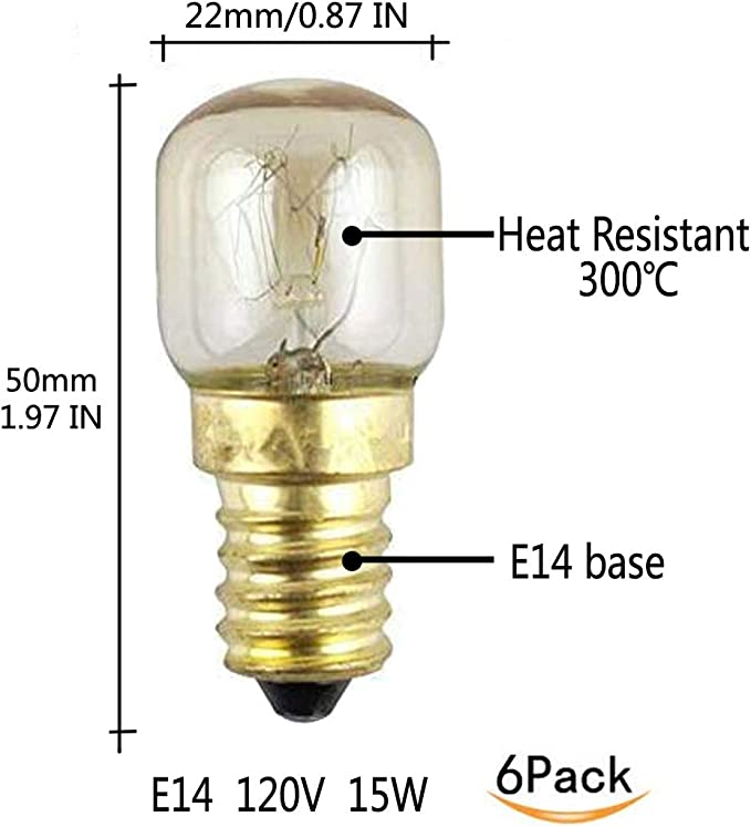 Amazon.com: ctkcom 15 W, T22, E14 base horno bombillas de ...