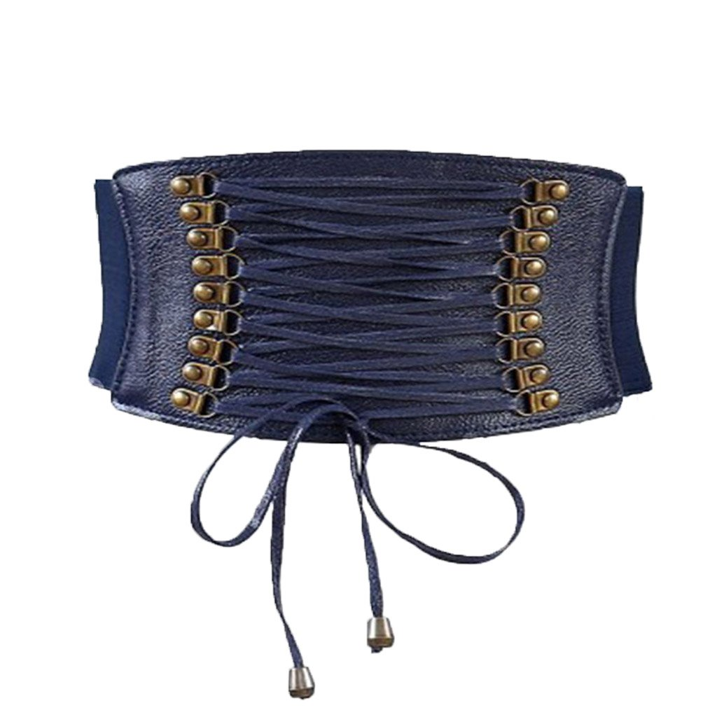 Charming House Womens Vintage Tassels Elastic Wide Waist Belt (Navy)