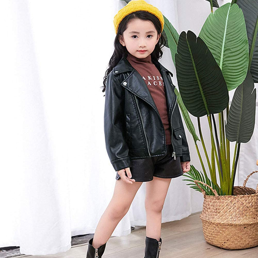 Willsa Baby Girls Jacket Outwear Leather Coat Short Jacket Windproof Clothes