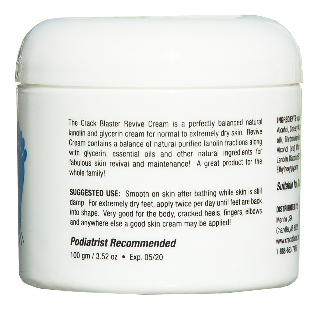 Crack Blaster Revive Cream, Multi-Purpose Body Cream For Dry Skin, Treatment For Dry Skin and Skin Conditions often associated with Dermatitis, Psoriasis and Eczema, Fragrance-Free Dry Skin Care by Merino Skin Care USA