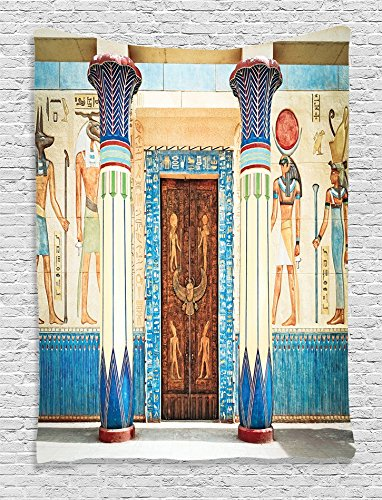 Ambesonne Egyptian Decor Collection, Ancient Egyptian Writing on Stone Ancient Egypt Indigenous Civilization Picture, Bedroom Living Room Dorm Wall Hanging Tapestry, Beige Navy (Egyptian Party Decorations)
