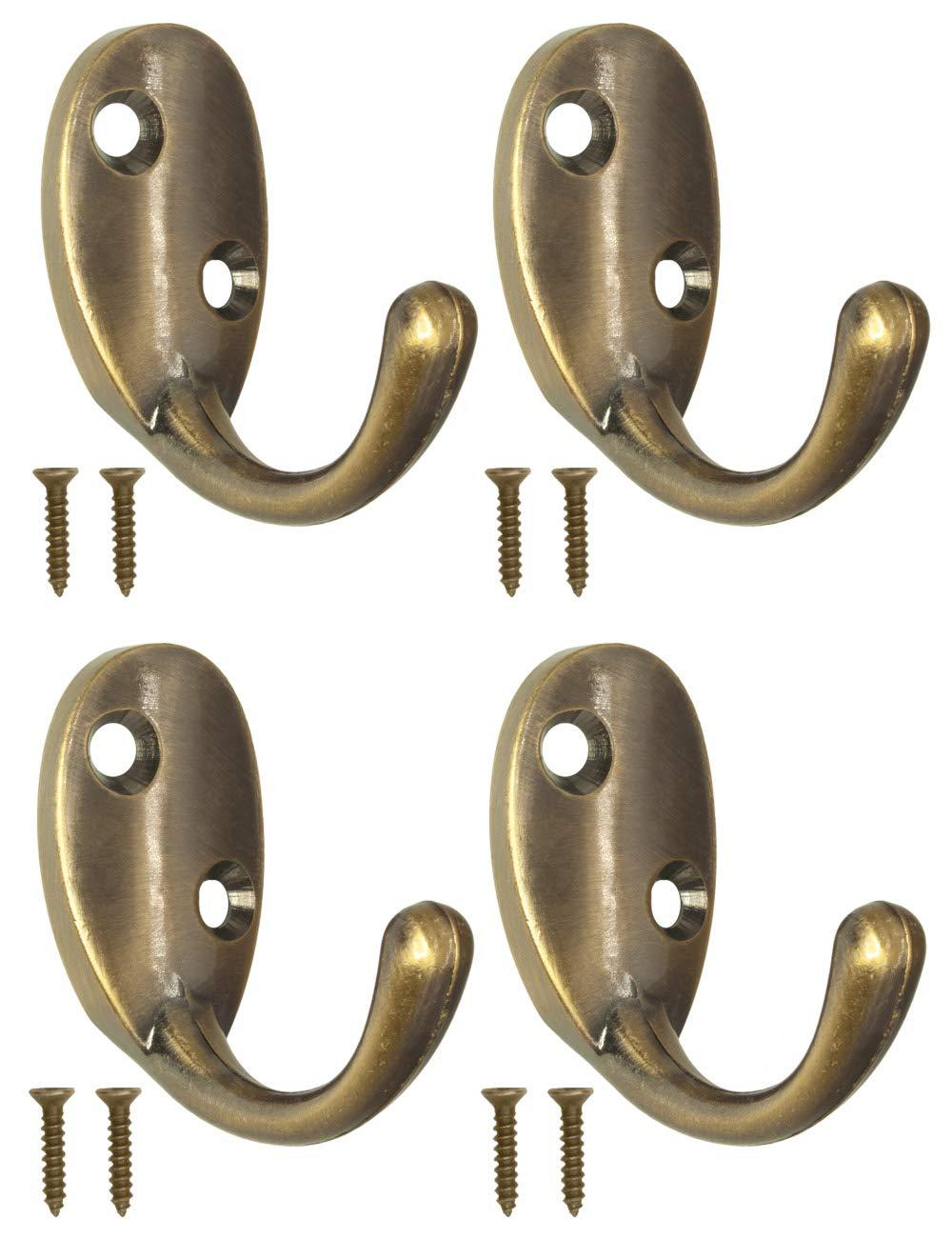 Antike Garderoben-Haken Kleider-Haken 4er Set Oval Antik Design Vintage Landhaus Retro FUXXER/® Wand-Haken Handtuch-Haken Farbe Bronze Eisen-Haken
