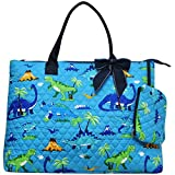 Friendly Dinosaur Print NGIL Quilted Over Night Shopping Tote Bag