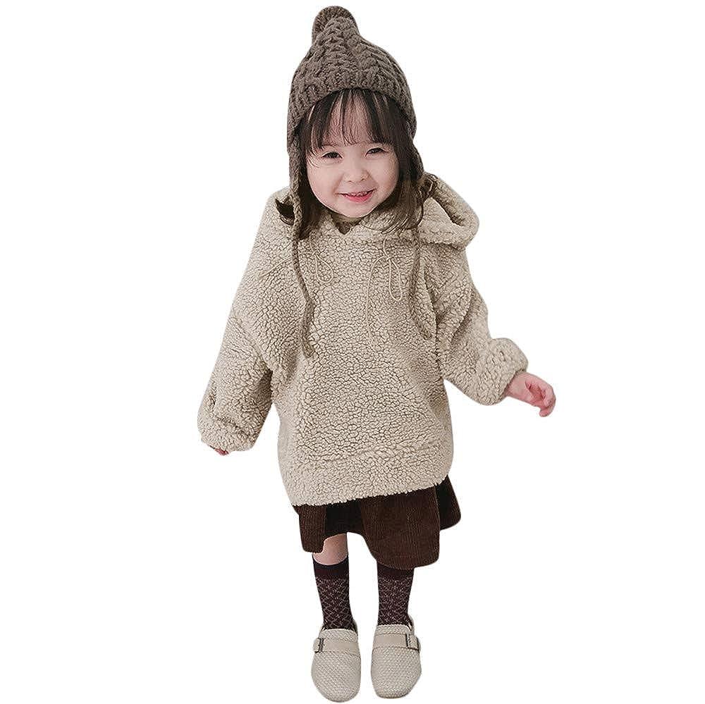HUHU833 Kinder Mäntel Baby Mädchen Jungen Fleece mit Kapuze Flauschigen Warm Mantel Sweatshirt Outwear Pullover
