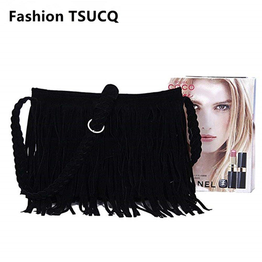 FTSUCQ Womens Fringe Tassel Faux Suede Messenger Bag Hobo Shoulder Bags Crossbody Handbag (Black) by FTSUCQ (Image #3)