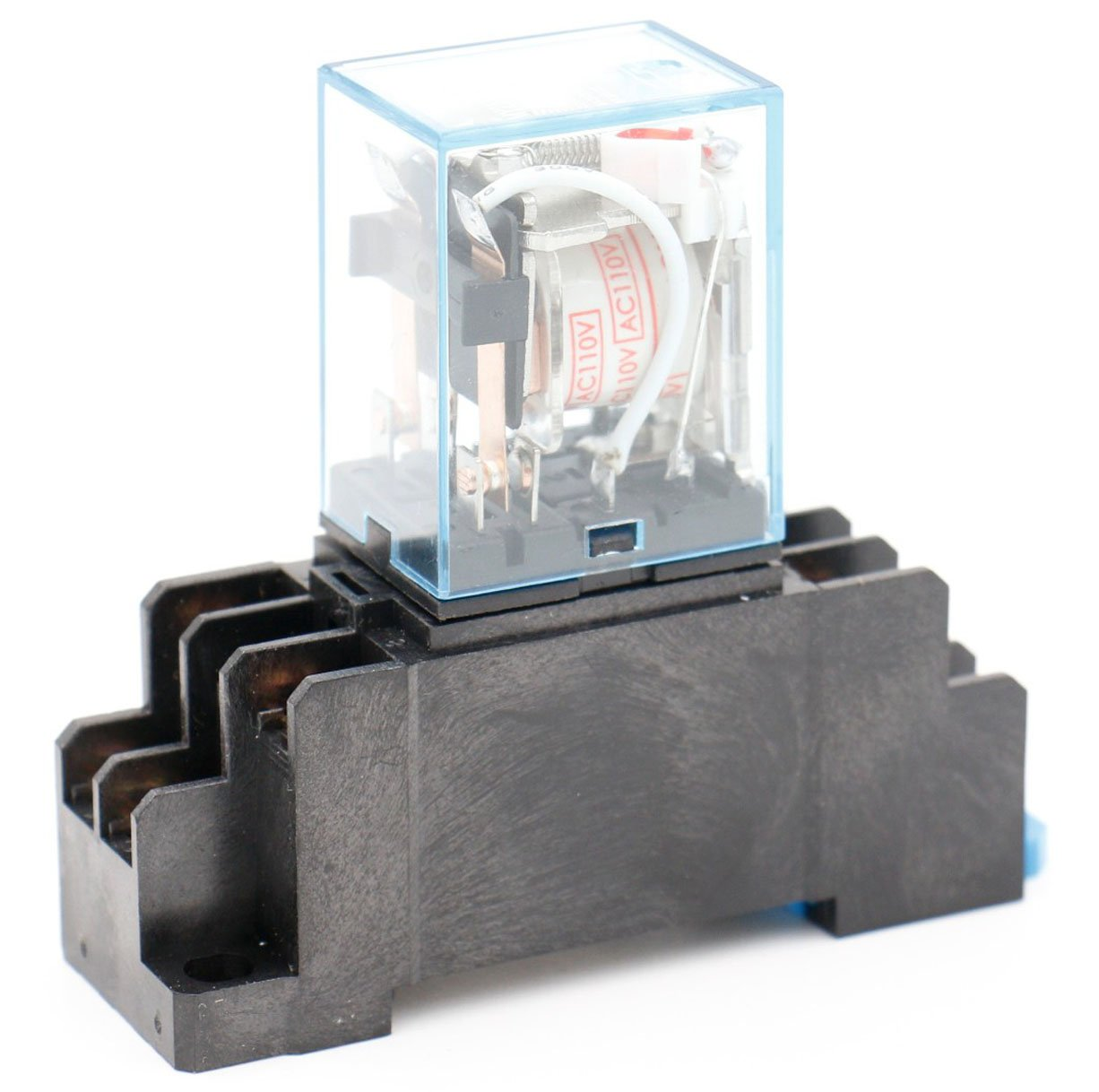 Baomain MY2NJ AC 110V Coil General Purpose Relay DPDT 8 Pin w Socket Base MY2NJ-AC110V